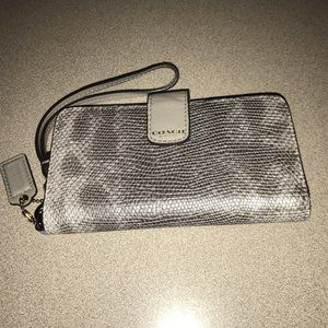 Coach leather cell phone wristlet wallet